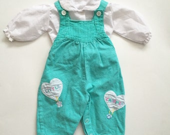 Vintage 80s baby girl newborn overall set with appliqued hearts
