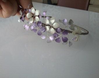 Bridal hair mature, tiara hair wreath purple lilac ivory