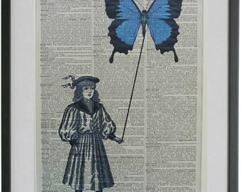 Butterfly Print No.595, butterfly decor, butterfly poster, butterflies art, dictionary art, blue butterfly, funny butterfly, dorm room art