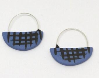 Grid blue Porcelain hoop sterling silver wire