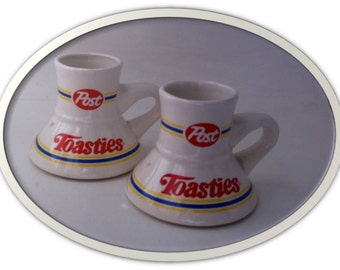 Vintage 1980s Mugs... RARE...Collectable...POST TOASTIES...Set of Two Matching Mugs
