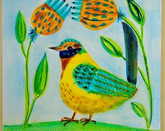 ORIGINAL Folk Art Bird, Yellow Bird, Bird and Flowers Watercolor Painting