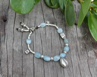 Make Waves Bracelet - Karen Hill Tribe Silver - Aquamarine Beads