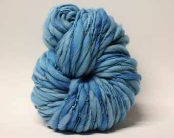 Handspun Wool Yarn Thick and Thin Slub  tts(tm)  Merino Hand dyed Super Bulky Half-Pounder Blue 01