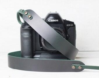 Personalized camera strap DSLR camera strap Leather camera strap British racing green with tan