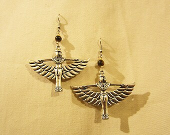 "Egyptian Goddess Isis silver tone earrings with semi precious stone that you choose.  3"" or 7cm long x 2.25"" or 6cm"