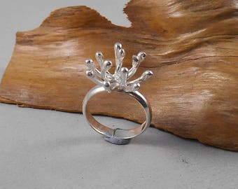 Seed head (sea anemone) - sterling silver statement ring