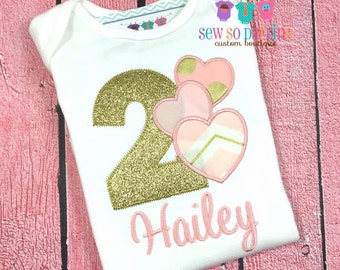 Girls 1st Birthday Shirt - Girls Pink and Gold Birthday Outfit - Hearts Birthday Outfit - Birthday shirt - 2nd Birthday outfit