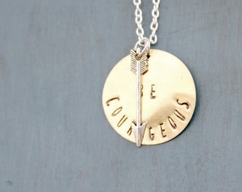 Be Courageous Two Tone Hand Stamped Necklace