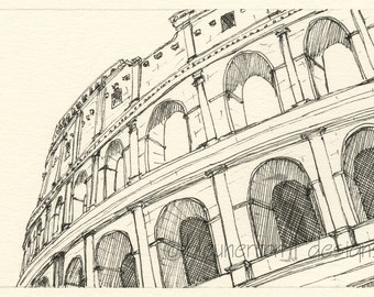 Rome Italy sketch - Coliseum, Rome - art drawing print