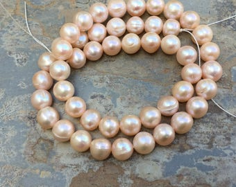 Large Pale Pink Pearls, Pink Pearl Round Beads, 8mm, 15 inch strand