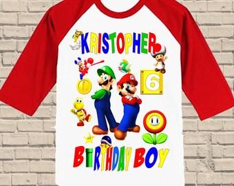 Super Mario Brothers Birthday Shirt - Raglan Shirt Available