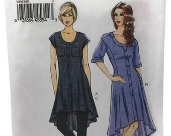 Vogue 8983 Dress/Tunic Pattern, Womens Dress, Tunic and Pants, Very Easy pattern, Hi-Low Hem Shirt Dress, Womens 16-24, Uncut Sewing Pattern