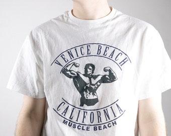 Vintage 1990s Venice Beach California white and black t shirt