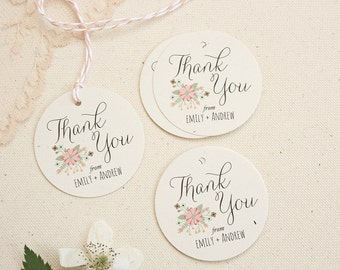 Favor Tags in Rustic Floral Design - Rustic Wedding Thank You Tags - Calligraphy Font Gift Tags - Vintage Wedding Tags