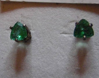 Zambian Emerald Earrings. 2-6 x 6 mm Trillions weighing 1.65ct Set in .925 Sterling Silver
