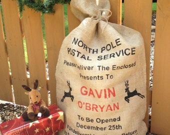 Christmas sack, Burlap Santa bag, Stocking, North Pole Postal Service Reindeer Personalized