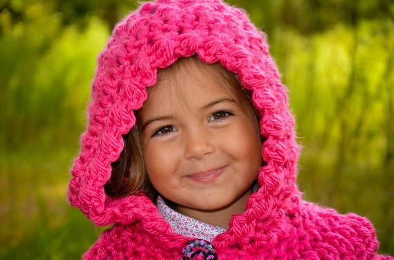 Crochet Pattern For Star Stitch Hooded Cowl 5 Sizes Baby To Large