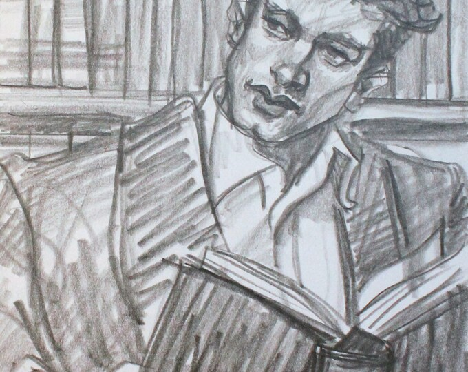 The Bookish Dandy, graphite on cotton paper, 9x12 inches  by KennEy Mencher
