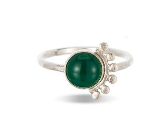 Green onyx sunrise sterling silver cabochon ring