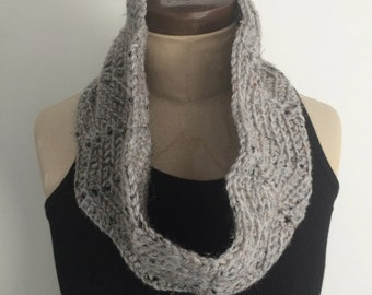 Crocheted Gray Speckled Cowl/Neckwarmer/Infinity Scarf - FREE U.S. SHIPPING