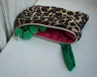 Faux Leopard Print Pouch Bag Clutch