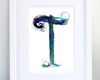 Print, Art Print, Wall Decor, Wall Art, Illustration Print, Blue Ink Drawing, Letter T, print 8x11.5 inch (21x29.5 cm)