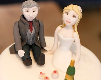 Bride and groom cake toppers.  As you can tell, anything goes.  Made to order according to your specifications.