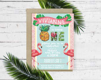 Digital file Luau flamingo and pineapple first Birthday invitation