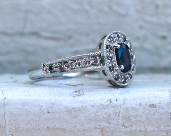 Beautiful Vintage 14K White Gold Pave Diamond and Sapphire Halo Ring - 0.62ct.