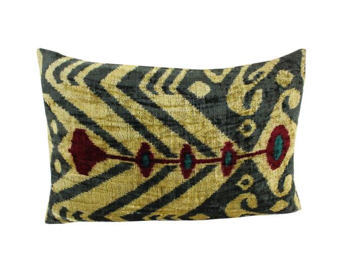 Silk Velvet Ikat Pillow Cover Lp504, Bohemian pillow, Velvet Ikat Pillow, Velvet Pillow, Velvet Pillow Cover, Ikat Pillows, Throw Pillows