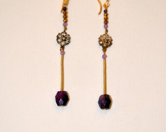 Vintage earrings vermeil, gold plated Zircons and micro Amethysts