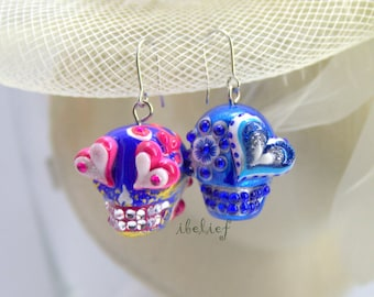 Skull new collection day of dead skulls deep blue earrings stone