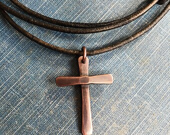 Handcrafted Copper Cross or Sterling Cross pendant necklace - Leather Cord necklace