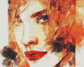 Woman Cross Stitch Chart, The Elements: Fire 2 Cross Stitch Pattern PDF, Art Cross Stitch, Embroidery Chart