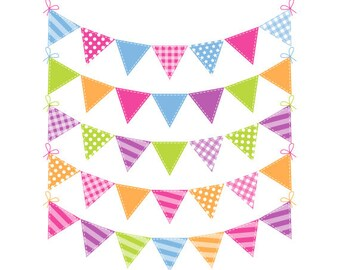 Festival Bunting Clip Art - Rainbow Bunting Clipart - Spring Bunting - Commercial Use - Instant Download