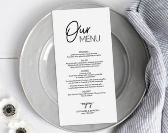 Modern Menu Printable - Tall Menu - Instant Digital Download - Editable PDF - Wedding Menu - DIY Template Banquet Menu- 5x7 inches - #GD0211