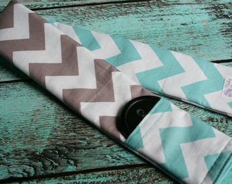 SALE!!  Reversible Camera Strap Cover with Lens Cap Pocket - Riley Blake Aqua and Gray Chevron - CLEARANCE