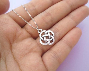 Celtic, Knot, Silver, Necklace, Modern, Minimal, Dainty, Necklace, Birthday, Friendship, Mom, Sister, Gift, Jewelry