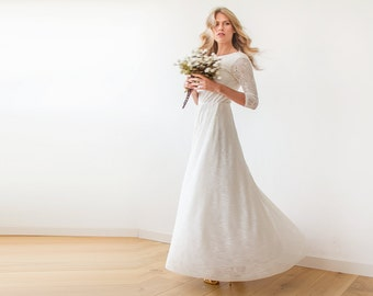 Long Sleeve Wedding Dress Ivory Floral Lace With Open Back, Ivory Long Sleev Wedding Gown 1118