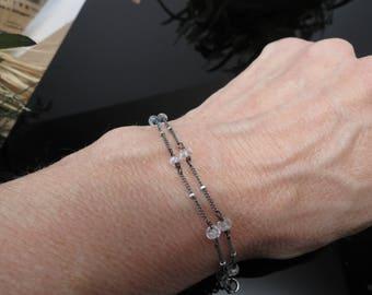 Moonstone Bracelet, June Birthstone, Clear Gemstone Anklet Bracelet In Oxidized Sterling, Delicate Moonstone Jewelry, 7-8.5 Inches Length