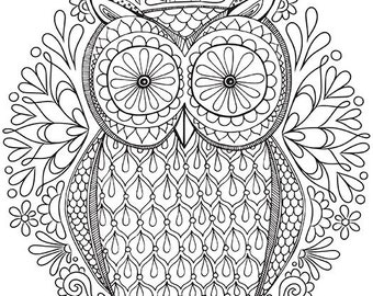 OWL - Instant Download - ADULT Coloring Pages - Digital Printable Design - Coloring Page Printable - Owl Printable