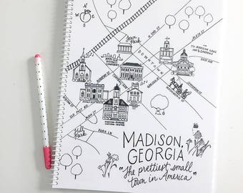 Large Madison, Georgia Map Spiral Bound Journal Notebook