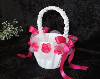 Wedding Basket, Wedding Flower Girl Basket, White Satin Fuschia Pink Rosebuds and Satin Ribbon.