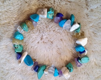Natural stone turquoise, purple, white and blue bracelet
