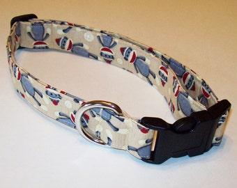 Dog Collar // Adjustable // Sock Monkeys On Tan