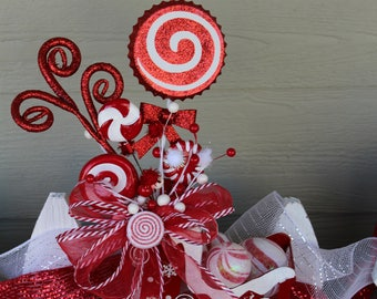 Candy Cane Sleigh Arrangement, Santa's Sleigh, Red and White, Peppermint, Christmas Decor, Centerpiece, Holiday Decor, Christmas Candy