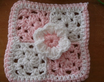 Pink Flower granny square crochet pattern PDF file