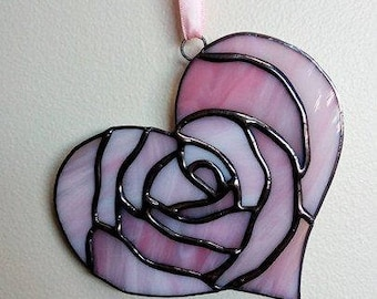 Stained Glass Rose Heart