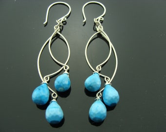 Turquoise Long Chandeliers 925 Sterling Silver Earrings